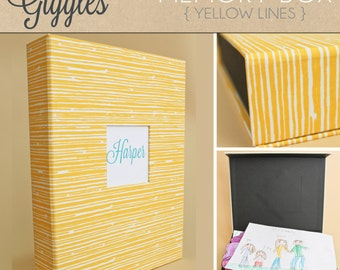 "Personalized Baby Memory Box (Large 13"" x 10"" x 2"")... Yellow Lines"