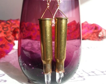 Long bullet shell earrings with quartz crystal points, copper