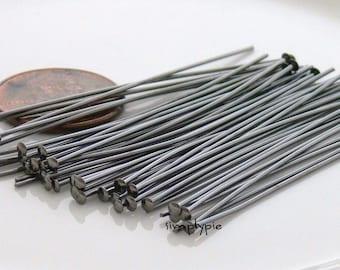 2-inch Gunmetal Headpins Brass 21-Gauge 50