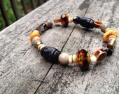 Bracelet - Stretchy - Beaded - Naturals - Wood and Glass