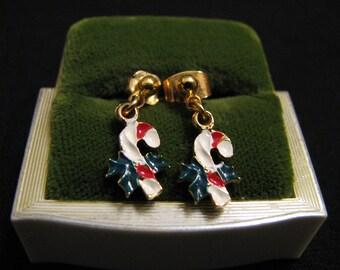 Vintage Gold Tone Enameled Candy Cane Pierced Earrings