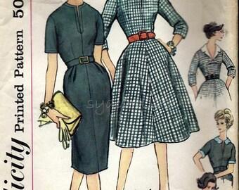 Vintage 1950s Slim or Flared Dress Pattern Detachable Collar Bow & Sleeve Trim Front Neckline Slit 1959 Simplicity 3118 Bust 35