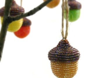Acorn Ornament Natural Brown Beaded Fall Woodland Thanksgiving Decoration Hostess Gift *MADE TO ORDER