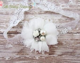 White Flower Headband, Chiffon Flower Lace Headband or Hair Clip, Baptism, Christening, Baby Headband, Newborn Infant Child Girls Headband