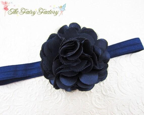 Navy Blue Flower Headband - Navy Blue Satin and Tulle Flower Navy Blue Headband or Hair Clip - Infant Toddler Child Girls Headband