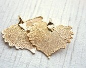 1 Gold Electroplated Cottonwood Leaf Pendant // Gold Autumn Leaf // Jewelry Supply