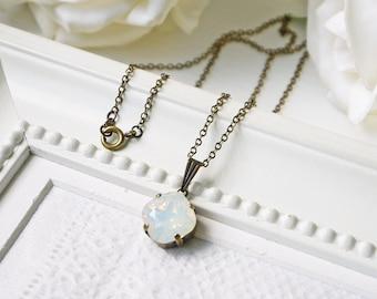 White Opal Swarovski Crystal Necklace Milky Opalescent Antique Brass Vintage Style Necklace