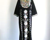 Vintage Dress 1960s 1970s Embroidered Caftan Beaded Black Boho Gypsy Maxi Dress L/XL