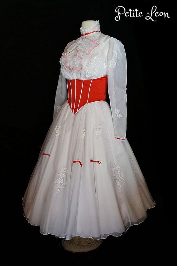 Jolly Holiday Mary Poppins Costume Adult Size Custom Made with Red Satin Corset