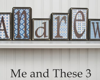 Wood letter name blocks - Price is per block- Custom to your style -Espresso blue yellow white boy