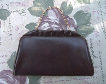 Brown Handbag 1960s Handbag Vinyl Handbag Brown Clutch 60s Handbag Chocolate Brown Handbag Brown Vinyl Purse Brown Purse Mod Handbag Mad Men