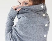 Sweater | Gray sweater | Wool sweater | Sweater with buttons | LeMuse asymmetrical sweater