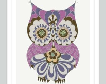 Owl Nursery Print   Baby Girl Nursery Art