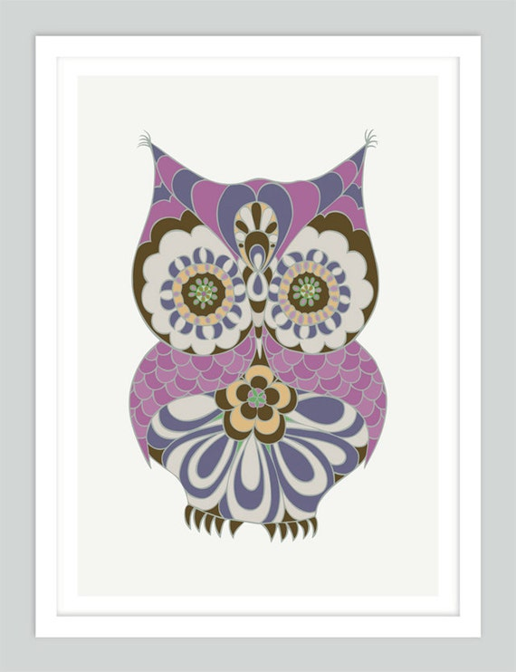 Owl Nursery Print | Baby Girl Nursery Art