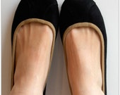 ISLANDER- Ballet Flats - Suede Shoes with Tan insert - 41-  Black. Available in different sizes