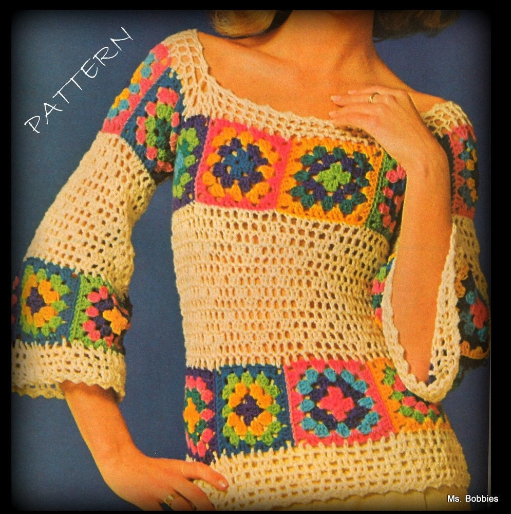 Crochet Granny Square Sweater Pattern : Crochet Sweater Granny Squares PDF 04197515 Save by MsBobbies