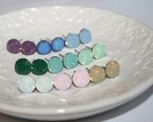 Swarovski Stud Earrings,Opal Ear Studs,Crystal Stud Earrings,Hypoallergenic steel,Bridal Studs,Rose Mint Green White Blue Wedding Ear posts