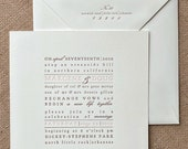 Letterpress Wedding Invitation - Text Block Design - Typographic, Calligraphy,Traditional, Elegant, Simple, Classic, Custom, Formal, Square