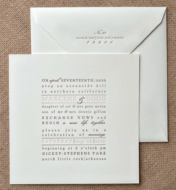 Letterpress Wedding Invitation Text Block By CHATHAMandCARON