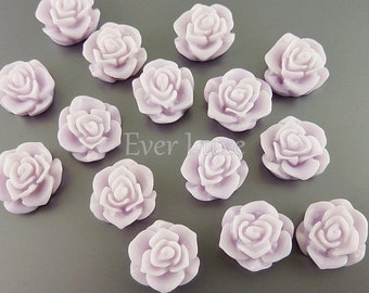 4 colorful lavender color flower blossom cabochons, flower cabs with flat backs for rings, earrings, jewelry 5082-LA (lavender, 4 pieces)