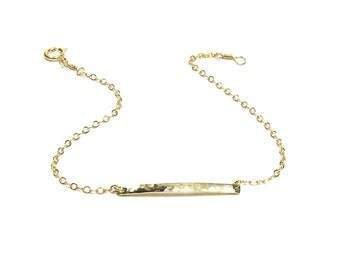Hammered Bar Bracelet, Polished Bar Bracelet, Minimal Layering Bar Bracelet, 14kt Gold Filled, 14kt Rose Gold Filled or Sterling Silver