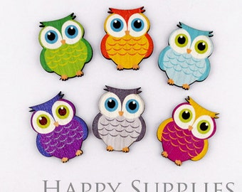 6pcs Handmade Wooden Owl Charms / Pendants (CW014)