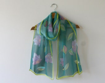 Hand painted scarf - silk chiffon scarf (green purple blue pink colors, floral), light silk scarf, christmas gifts for her, for mother, wrap