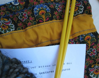 CLEARANCE Knitting Kit #3 - Handspun yarn, project bag, vintage needles, basic scarf pattern