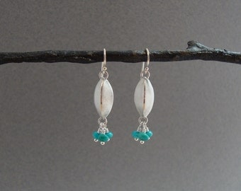 Sterling Silver and Turquoise Earrings, Brushed Silver, Dangle Earrings