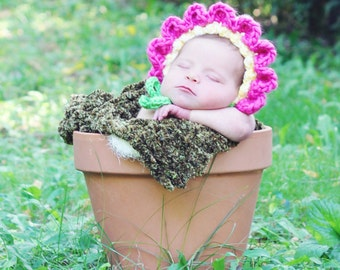 Baby Bonnet Hat Easy CROCHET PATTERN in 4 sizes up to 12 months, Baby Flower Pot Bonnet