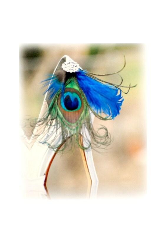 Shoe Clips Peacock & Royal Blue. Couture Bride Bridal Bridesmaid Fashion, Statement Bachelorette, Iridescent Metallic Silver Rhinestone Pin