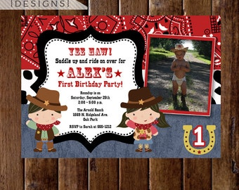 Little Cowboy and Cowgirl Western Theme Photo Birthday Invitation - PRINTABLE INVITATION DESIGN
