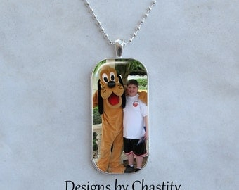 Custom Photo Necklace Personalized Glass Art Charm