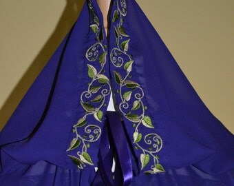 Embroidered Medieval Cloak, Pre-Raphaelite, Renaissance, Cosplay, Larp  .