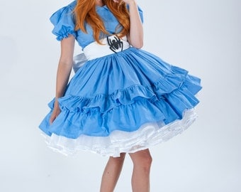 Cute Little Miss Muffet Halloween Costume Blue Dress White Sash with Spider and Hair Bow  S M L Xl