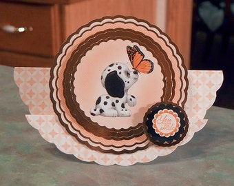 """Rocker Step Card - Cute Dalmatian Puppy & Butterfly - 6.75"""" x 5"""" - Stampin Up Around Array - You Make Me Smile - OOAK"""