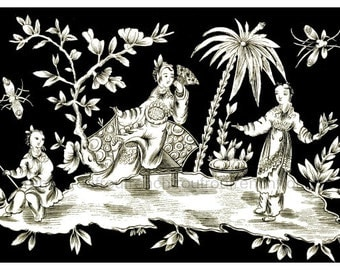 antique french tropical chinoiserie illustration digital download