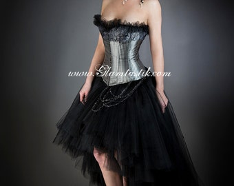 Size Large Black and Slver Steampunk striped and paisley Burlesque corset bridal prom dress with chain Ready To Ship