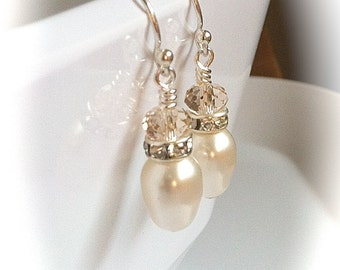Pearl Teardrop Wedding Earrings, French Blush Swarovski Crystals, Sterling Silver Bridal Earrings, Bridesmaids Jewelry