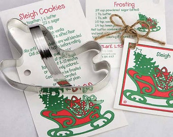 Cookie Cutter, Santa's Sleigh Cookie Cutter, Christmas Party Favors, Holiday, Party Cookie Swap, Baking, Recipe Card, Kids Baking Party