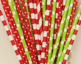 Paper Straws, 25 CHRISTMAS MERRY and BRIGHT, Christmas Party Paper Straws, Party Favor Straws, Red and Green Paper Straws, Holiday Party