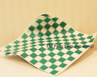 Basket Liners, Green Check Paper Basket Liner, Checkerboard Food Box Liner, Sandwich Wrappers, Hamburger Paper Wrap, Party Food Paper Wrap