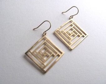 Geometric diamond square with linear cutout design earrings on 14k gold plate fixtures, dangle earrings