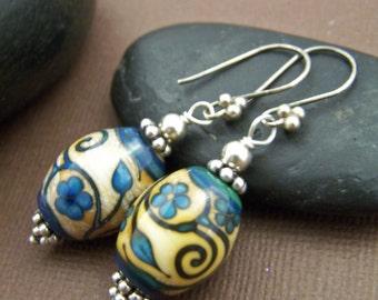 Kayla Beaded Earrings - Lampwork Glass Bead Sterling Silver Earrings