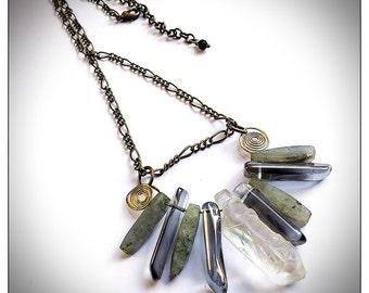 Boho chic gemstone fringe necklace, labradorite, quartz, antiqued brass chain, rustic, organic, statement, unique ooak