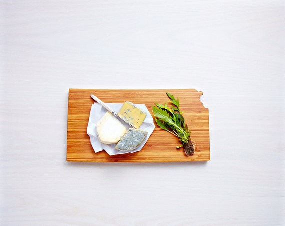 Kansas Cutting Board 4th of july Gift Personalized engraved Kansas cheese state shaped board