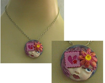 Heart & Flower Goddess Necklace Jewelry Handmade NEW Polymer Clay Art