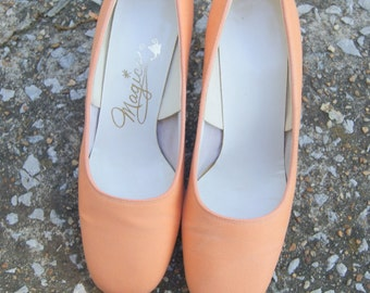 Vintage Orange Sherbert Silk Pumps 5.5 M