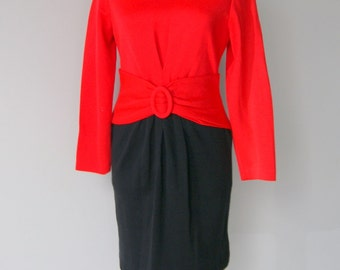 Vintage Red and Black Knit Color Block Dress