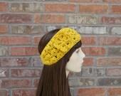 Crochet Headband, Winter Headband, Winter Accessories, Headband with Flower, Gold Headband, Mustard Yellow Headband, Crochet Earwarmer